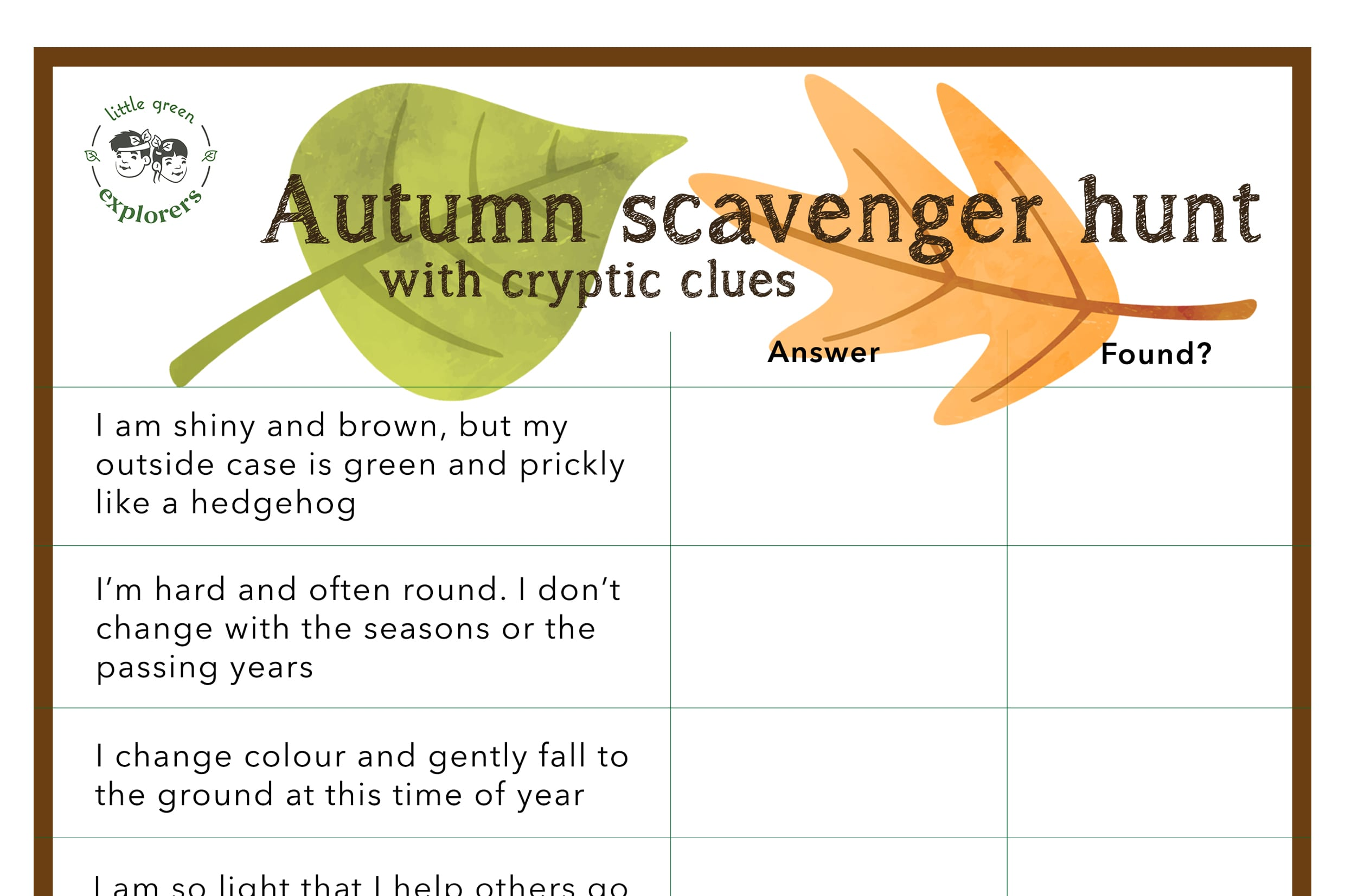 Free Printable Autumn Scavenger Hunt With Cryptic Clues Little Green Explorers Outdoor Learning Events And Activities